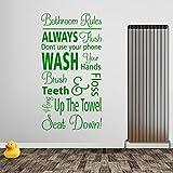 Wand-Aufkleber mit Text Bathroom Rules, wasserdicht, A368, Vinyl, Mittelgrün, Medium-Set