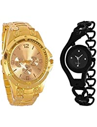 BLUTECH Combo Of Gold Colour Rosra And Black Metal Chain Strap Analog Watch For Men And Women - For Boys And Girls