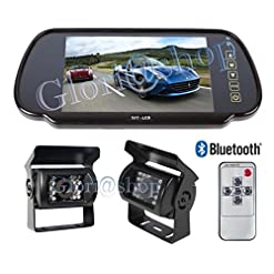 KIT RETROMARCIA AUTO SPECCHIETTO BLUETOOTH 2 INGRESSI VIDEO TELECAMERA 18 LED