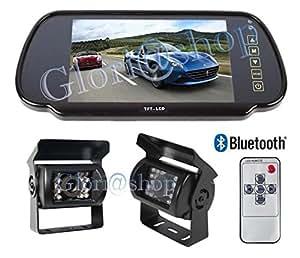 Kit retromarcia auto specchietto bluetooth 2 ingressi for Telecamera amazon