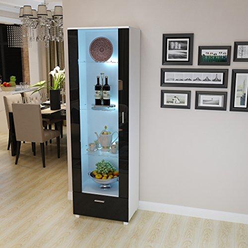 Saiyun Hoher Vitrine mit moderner Hochglanz-Front-Tür, Ablageschrank mit LED-Beleuchtungsregalen, Wohnzimmermöbel, Glasschränke weiß, Schwarz, Large -