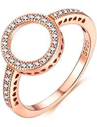 Presentski anillo de oro rosa con circonio cúbico círculo anillo de plata de ley 925 para las mujeres (anillos de compromiso anillo de bodas anillo de dedo)