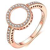 Presentski Rosegold Ring mit Zirkonia Kreis Ring Sterling Silber 925 für Damen