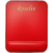 Almohadilla de cuero sintético de ratón personalizado con el texto: Roselin (nombre de pila