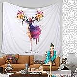 KINLO® Wandbehang 150x130cm TOP Tapestry Weiß Wandteppich Tapisserie mandala aus hochwertigem Polster Strandtuch Hirsch hippie überwurf Pichnick Decke indisch Tagesdecke 2 Jahren Garantie