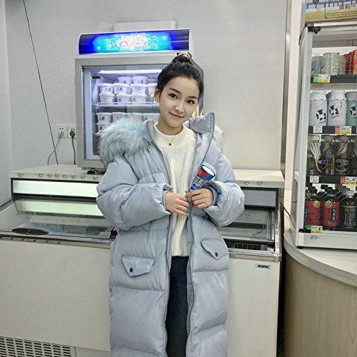 Xuanku Winter Überdimensionierten Pelz Kragen Mit Kapuze Mantel Lange Dickeres Fell Lose Dessous, XL, Lotus Root (Mit Mantel Langer Pelz-kragen)