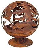 Esschert Design Feuerball in Rost-Optik, 58 x 58 x 66 cm, aus Metall, laser-geschnitten, tolle...
