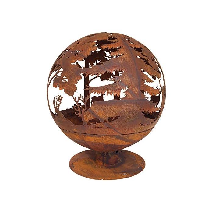 Esschert Design Feuerball In Rost Optik 58 X 58 X 66 Cm Aus Metall Laser Geschnitten Tolle Elchmotive Mit Sicherem Stand