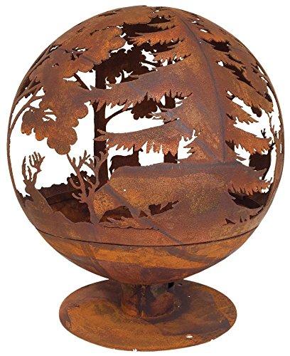 Esschert Design Feuerball in Rost-Optik, 58 x 58 x 66 cm, aus Metall, Laser-geschnitten, tolle Elchmotive, mit sicherem Stand