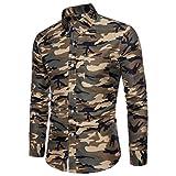 Herren Umlegekragen Hemd Camouflage Printed Männer Shirt Lange Ärmel Tops GreatestPAK
