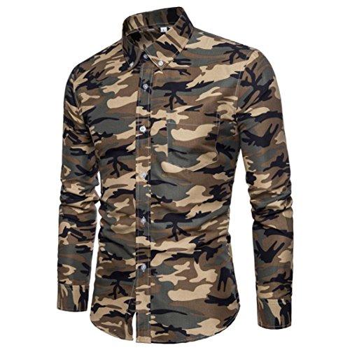 Herren Umlegekragen Hemd Camouflage Printed Männer Shirt Lange Ärmel Tops GreatestPAK -