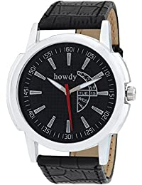 Howdy Smart Analog Black Dial Watch With Leather Strap - For Men's & Boys Ss516