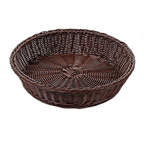 ShenYo Obstkorb, rund, dekorative Obstaufbewahrung, Korb zum Servieren von Lebensmitteln, handgewebt, leichte Aufbewahrung, Wie abgebildet, Large