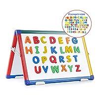 Swansea A2 Magnetic Desktop White Board Double Side Kids Dry Wipe Flip Chart with 82Pcs Foam Magnets