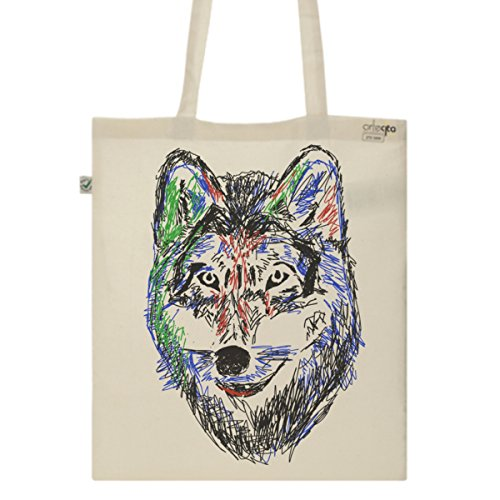 Tote Bag Imprimé Ecru - Toile en coton bio - Loup