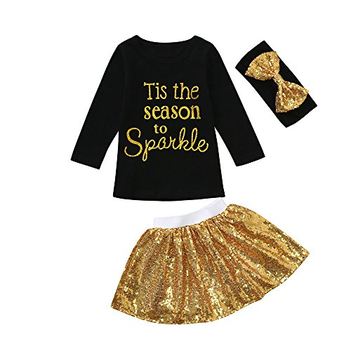 Coupon Matrix - Clearance Sale Baby Girls Skirt Set for 0-24 Months Toddler Clothes T-Shirt Party Sequins Skirt Headband Outfit 3 Pcs