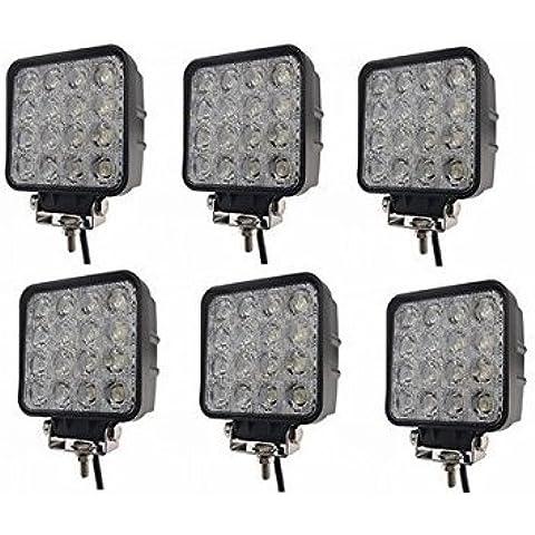MCTECH 48W LED de luz de inundación campo a través del reflector de la luz de los faros de trabajo de SUV, UTV, ATV faros de trabajo adicionales lámparas de campo a través de la linterna 12V 24V luz de marcha atrás (6 X 48W Square)