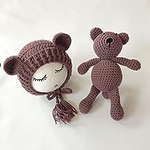 Bebé recién nacido fotografía apoyos niño Niña Gorro de Crochet disfraz trajes oso Set