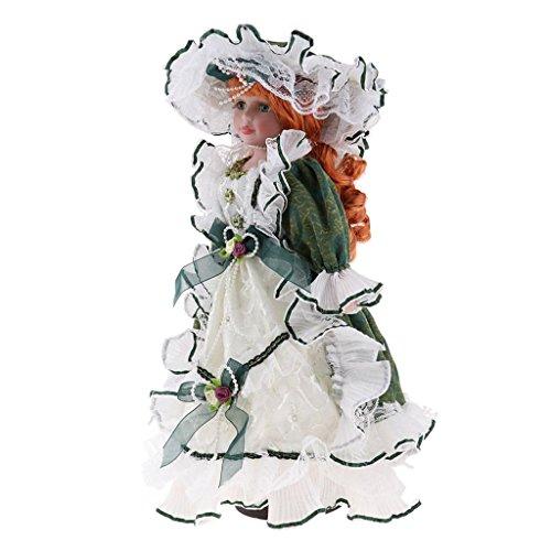 NON MagiDeal Juguete de Muñeca Chica de Porcelana de Vendimia con Ropa Dollhouse Miniature Accessories - Verde, 40cm