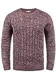 !Solid Philemon Herren Winter Pullover Strickpullover Grobstrick Pullover Zopfstrick mit Rundhalsausschnitt, Größe:XL, Farbe:Wine Red Melange (8985)