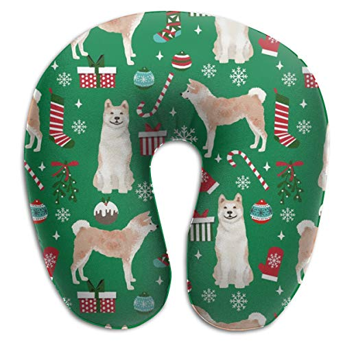 Travel Pillow,Akita Dog Breed Presents Candy Canes Snowflakes Green Memory Foam U Neck Pillow for Lightweight Support In Airplane,Car,Train,Bus Miss Candy Cane