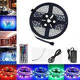 LED Strip 5m, GHONLZIN LED Streifen LED Band 5M 5050 RGB 150 LEDs mit Fernbedienung 44 Tasten RF für beleuchtung und Küche, unter Schrank, Terrasse, Balkon, Party und Haus Deko