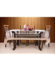 Kuber Industries™.20mm Dining Table Cover Transparent 6 Seater 60x90 Inches (Golden Lace) VAR15