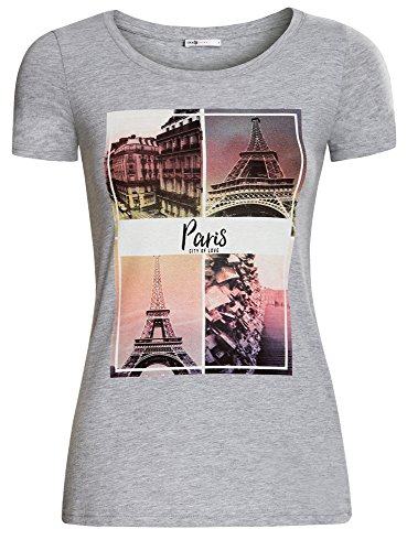 oodji Ultra Damen Baumwoll-T-Shirt mit Druck Grau (2019Z)