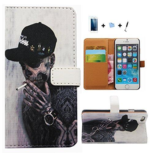 TIODIO® 4 en 1 Housse en cuir PU Portefeuille Etui cuir pour Apple iphone 6S/iPhone 6 en avec fonction de support étui case cover coque, Stylus et Film protecteur inclus, B29 B21