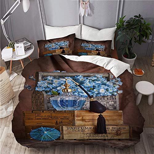 BEITUOLA Bettwäsche-Set,aromakorb schwarz blau flaschenboxen Cocktail Regenschirm Blumen parfüm flaschenduft,1 Bettbezug 240 X 260cm + 2 Kopfkissenbezug 80 X 80cm