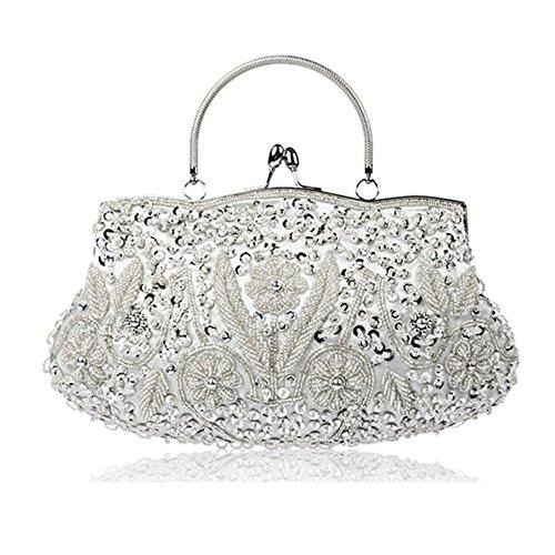 MMYOMI Vintage Floral Perlen Stickerei Kupplung Pailletten Hochzeit Prom Tasche Braut Damen Crossbody Abend Handtasche (Silber) (Tasche Perlen Abend Vintage)