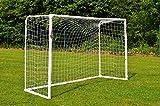 POWERSHOT Fußballtor Stadion 3 x 2m - 100% WETTERFES - uPVC mit Klicksystem und Zubehör - Perfektes Fußballtor für Garten (Tor + Transporttasche)