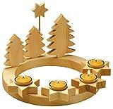 Adventskranz massiv Holz, geölt mit 4 Teelichtern, d 28 cm