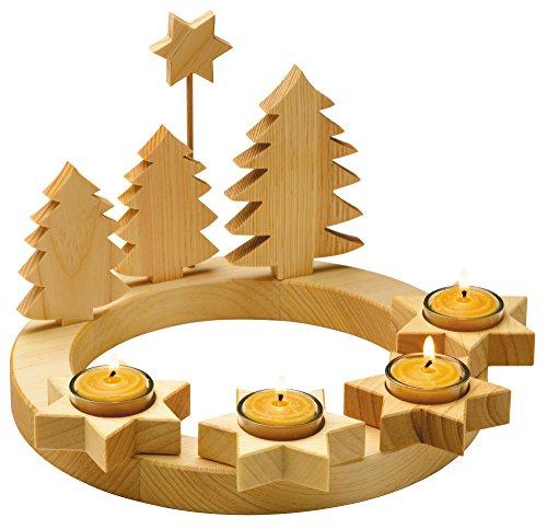 floristikvergleich.de Adventskranz massiv Holz, geölt mit 4 Teelichtern, d 28 cm