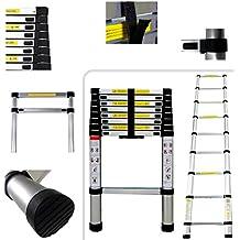 Todeco - Escalera Telescópica, Escalera Plegable - Carga máxima: 150 kg - Material: Aleación de aluminio - 2,6 Metro(s), EN 131