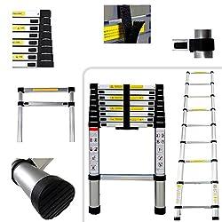 Todeco - Teleskopleiter, Klappleiter - Maximale Belastbarkeit: 150 kg - Material: Aluminiumlegierung - 2,6 Meter, EN 131