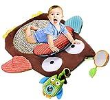 Ghope Süß Weich Kind Baby Krabbeldecken Eule Design mit Kissen und Spielzeug Spielbögen Spielmatte Spielteppiche 69x50cm