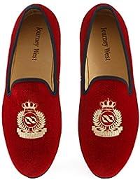 Journey West Hombres Zapatos Mocasines de Terciopelo Bordado Negro/Rojo/Azul
