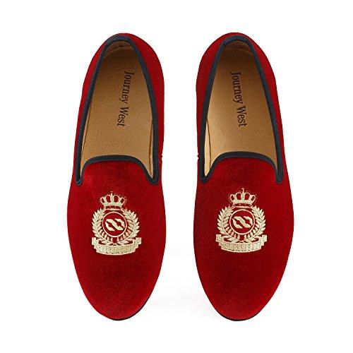Journey West Herren Vintage Schuhe Samt Slipper Herren Stickerei Noble Herren Schuhe-Slipper Smoking Slipper Mokassins Herren Schuhe Loafers Herren Rot Größe: 45