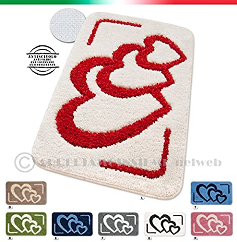 Tapis de salle de bains descente de lit bordé moderne shaggy 2tailles disponibles fond antidérapant 100% Fabriqué en Italie modèle Lipsi beige