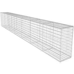 vidaXL Mur de Gabion Couvercle 600x40x100 cm Jardin Patio Panier à Pierres