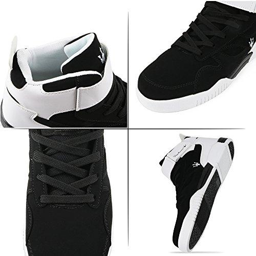 Muou Sneaker Scarpe Da Uomo Moda Alta Top Mens Scarpe Casual Sneakers Uomo In Pelle Traspirante Nero Nero