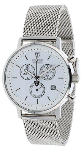 DETOMASO Milano Herren-Armbanduhr mit silbernem Edelstahlgehäuse und weißem Zifferblatt. Elegante Quarz Herren-Uhr mit silbernem Milanaise-Armband