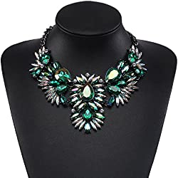 Holylove Mujer Statement Collar Verde, Joyería de Disfraz para Mujer Novedad Mode Collares 1 pz con Color Caja de Regalo- HLN021 Green