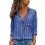 MEIbax Damen Knopf Gestreiftes zufälliges oberstes T-Shirt Frauen Lose Lange Hülsen Spitzenbluse Vintage Tunika Hemd Oberteile Bluse