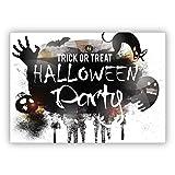 Trick or Treat, coole Halloween Einladungskarte mit Katzen und Geistern: Halloween Party