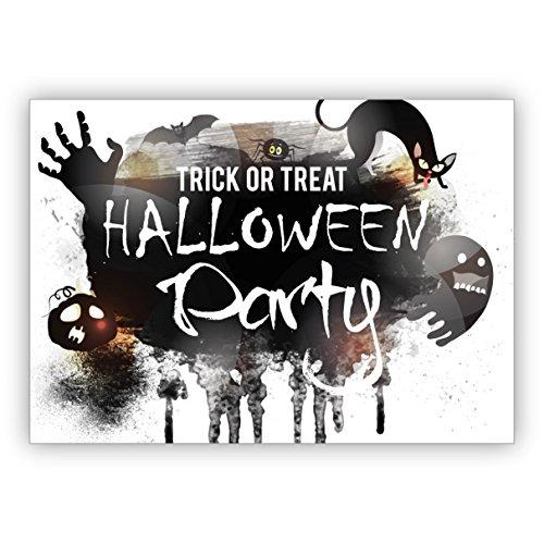 Trick or Treat, coole Halloween Einladungskarte mit Katzen und Geistern: Halloween (Gutscheine Halloween Geist Für)
