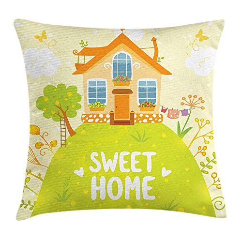 K0k2t0 Home Sweet Home Throw Pillow Cushion Cover, Cartoon Style Cottage Hut on Green Hilltop with Flourishing Garden Morning, Decorative Square Accent Pillow Case, 18 X 18 inches, Multicolor -