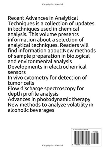 Recent Advances in Analytical Techniques Volume 1