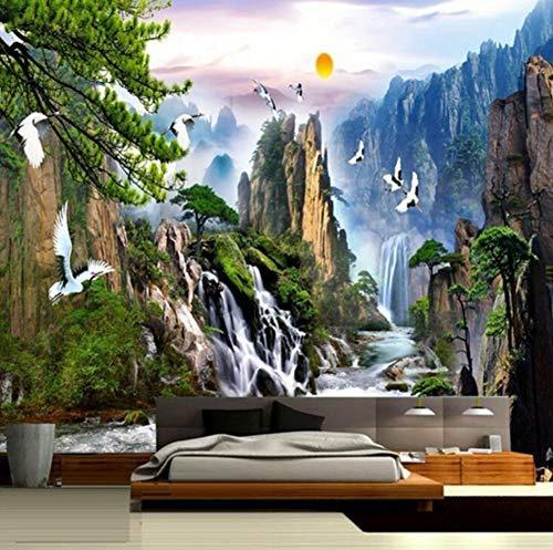 XHCP Chinesischen Stil Landschaftsmalereien Wandbild Sonnenaufgang Berg Wasserfälle Mandschurenkranich Benutzerdefinierte Fototapete Wohnzimmer